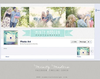 Facebook Timeline Cover design - Minty Modern by Summit Avenue - Instant Download