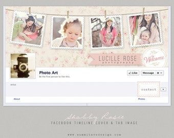INSTANT DOWNLOAD Facebook Timeline Cover & tab button design - Shabby Rosie by Summit Avenue
