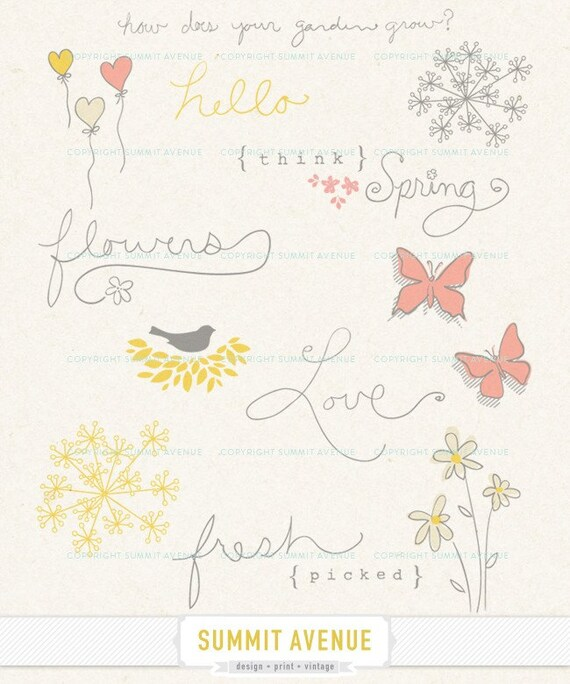 INSTANT DOWNLoAD think spring - digital CLIP ArT and word art - for photography scrapbook or logo