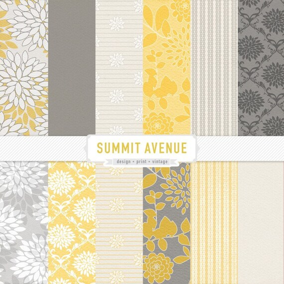 Photography / Personal Use digital scrapbook paper pack - 13 mustard & grey designs - Instant download