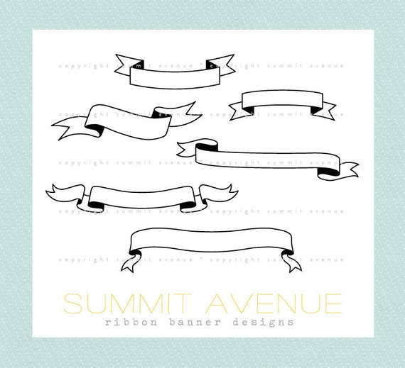 ribbon & banners digital clip art - for photography scrapbook logos or wedding or invitations - Instant Download
