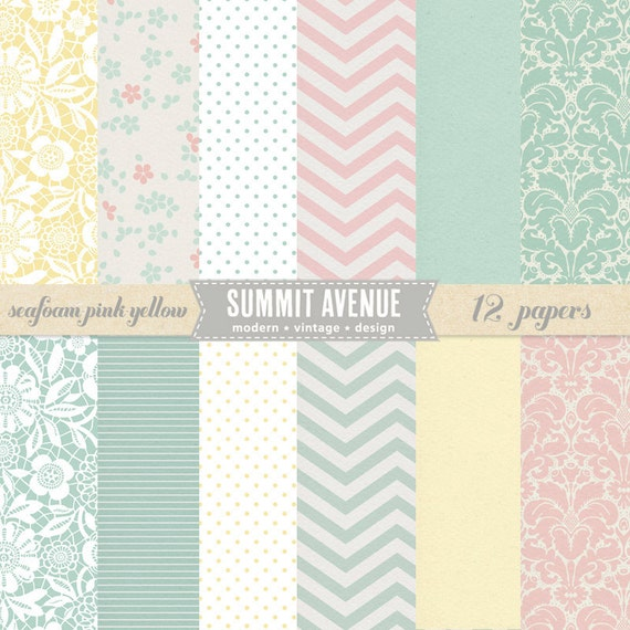 INSTANT DOWNLOAD Seafoam Pink & Yellow digital scrapbook paper pack n' patterns - for photographers or personal use
