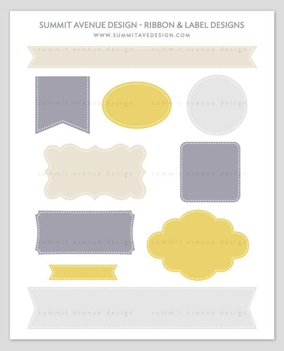 INSTANT DOWNLOAD Ribbon & Label Shapes - digital CLiP ART - for photography scrapbook or logos
