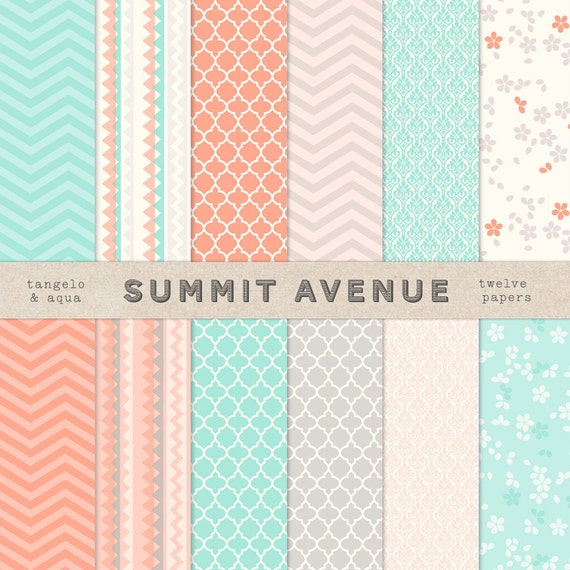 Tangelo & Aqua digital scrapbook paper pack and patterns - for photographers or personal use
