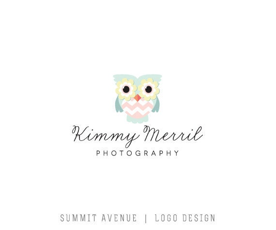 Custom Premade Mint owl logo for photography or boutique by summit avenue design