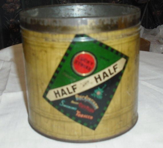 Vintage Half and Half Lucky Strike and Buckingham Cut Tobacco Tin