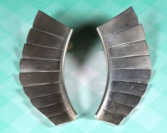 Sterling Silver Fanned Earrings