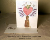 "Hand drawn ""Love"" Greeting Card w. matching envelope signed by Artisan"