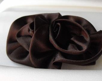 2 brown hair flowers, Chocolate Brown,Satin Flower, Brooch, Hair Clip, Flower Applique