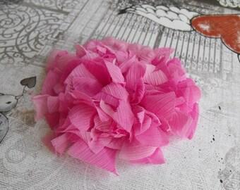 Hot Pink Flower, Silk Chiffon Flower,Brooch, Hair Flower, Applique