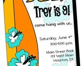 PRINTABLE INVITATION Surf Surfer Dude Birthday Summer Pool Party