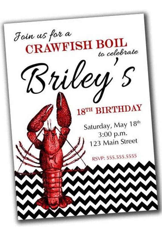 Crawfish Boil Party Invitation PRINTABLE Digital File by khudd