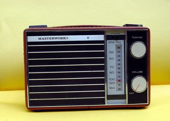 SALE - Retro 1970s Mod Masterwork AM Radio with leather shell