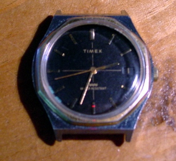 SALE  - Vintage Timex Mens Watch with Black Face