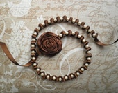 Ribbon necklace, with pearls and flower - Brown necklace with tiny ivory pearls and flower