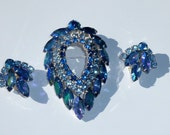 Beautiful Blue Sarah Coventry Brooch with Matching Earrings Demi Set