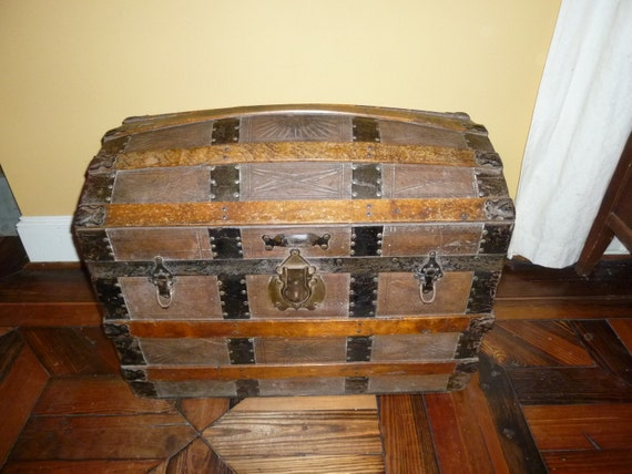 Antique Dome Top Leather and Wood Steamer Trunk