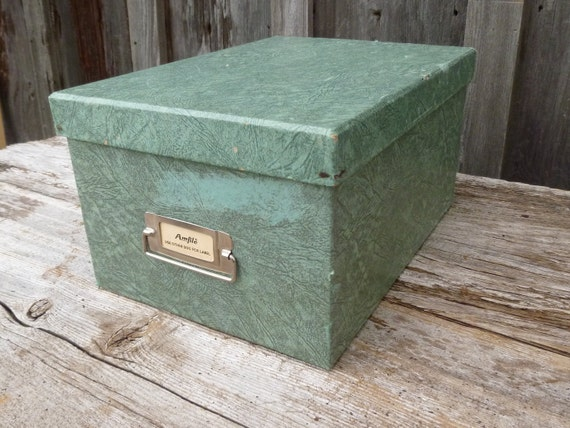Green Pasteboard File Box for 5 x 8 Index Cards