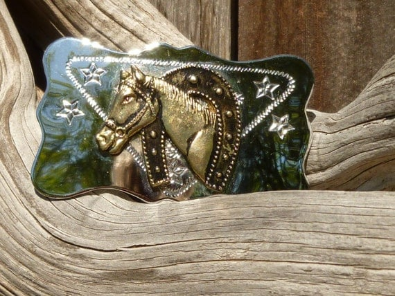 Uber Shiny Cowgirl Belt Buckle With HorseHead