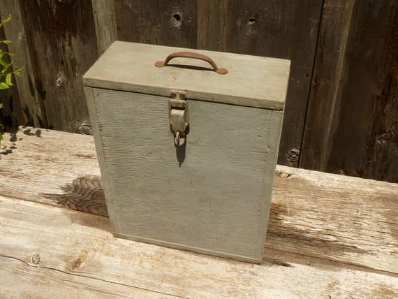 Wooden Storage Box with Hinged and Latched Lid