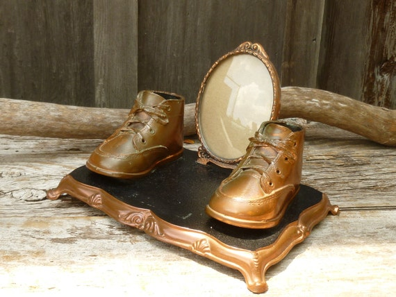 Bronze Baby Shoes and Picture Frame Dresser Display