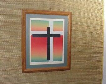 Vintage Christ CROSS Lithograph Print by Daniel Vi Hazel God Christian Jesus ART