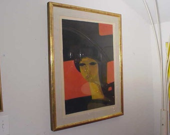 Vintage Andre Minaux Framed Lithograph Limited Edition Mid-Century Modern Art