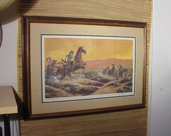 Vintage 1982 Mike Miller Print signed Numbered Southwestern Cowboy TumbleWeed Shoot Out Art