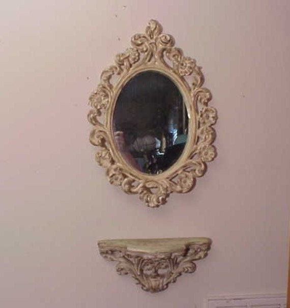 Vintage 1950's Hollywood Regency Chalkware Wall Mirror Shelf Set Shabby Chic