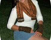 Crochet Scarf and Fingerless Gloves Set in Brown and Tangerine