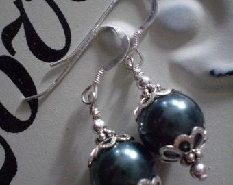 Tahitian Blue Swarovski Pearl Earrings