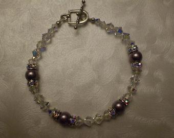 Swarovski Crystal and Burgundy Pearl Bracelet