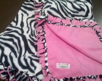 Zebra Print and Bright Pink Fleece Blanket