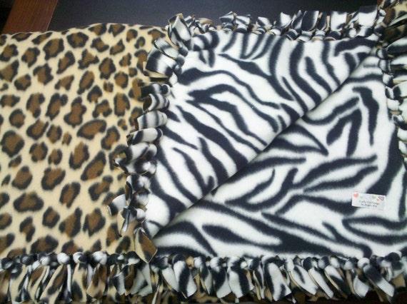 Zebra and Cheetah Hand-Tied Fleece Blanket