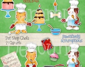 Digital Chef Clip art *Pets Clipart Images* dog and cat kitchen, baking, cooking, cupcake birthday graphics