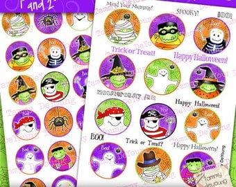 Digital Halloween Collage Sheet, Halloween Stickers, Halloween party favor cupcake toppers, Halloween bottle cap, Witch Mummy Ghost Pirate