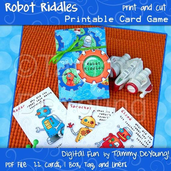 Robot Party Favor Printable Robot Riddle Card Game Kids