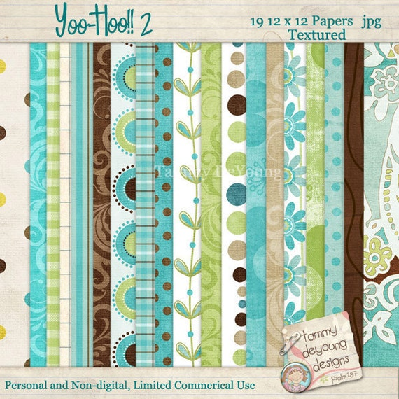 """Blue and Green Digital Papers """"Turquoise Digital Paper Pack""""  Boho paisley retro patterns handmade greeting cards, invitations, scrapbooks"""