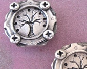 Sterling silver Tree and Gear handmade bracelet component