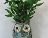 "FREE SHIPPING Vintage Blue Owl Vase 6"" Cute Ceramic Brown Standing Bird Pot Planter Decor"
