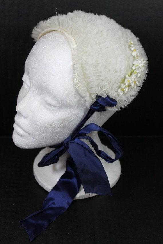 FREE SHIPPING 1940s Vintage White Tulle Ruffle Bonnet Hat Blue Ribbon Fascinator Headband Wedding