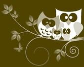 Owl Family Digital Art work 8x10 Print