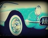 1957 Vintage Restored turquoise and White Corvette Photography 5x7 Print