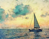 Sailing Along 11x14 Photography Print Sail Boat on the Ocean at Sunset Blues Orange Sky