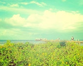 Day at the Fishing Pier Ocean Seascape Landscape Teal Travel Photography Artwork Print 11x14 Wall Decor