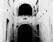 Blind Faith Photography art black and white 11x14 print Old Building Black Hole Cross Christen Gothic