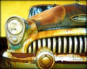 Special Order for FEARLESS FRAG: Vintage Dreams - Rusty Old Car Artwork photography 11x14 Print Head Light Yellow Brown Blues