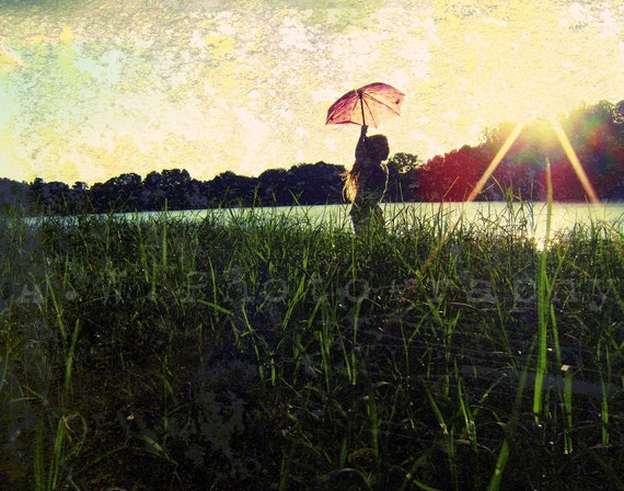 Young, Wild and FREE 11x14 Photography Graphic Design Mixed Media ART Print Child in Field of Grass with Umbrella