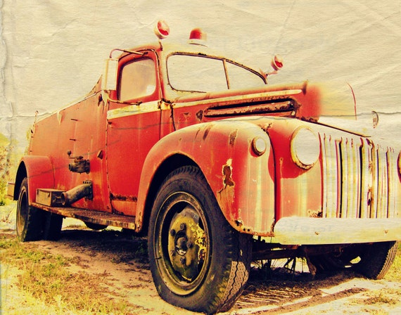 Heroes Never Die Vintage Fire Truck Photography ART 11x14 Print