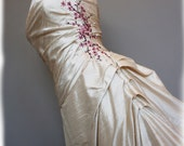 Cherry Blossom Wedding Dress Pink and Brown on Pearl Silk Duppioni, Custom Made in your size